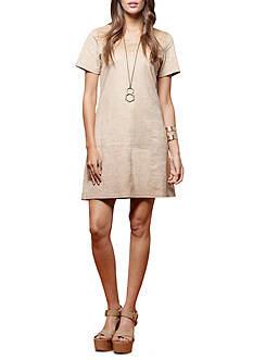 PAPER CRANE Perforated Suede Dress