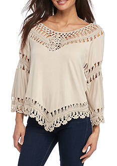 New Directions Petite Size Solid Crochet Trim Top