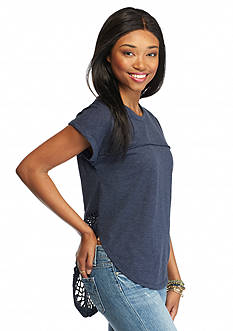 BLU PEPPER Short Sleeve Crochet Back Tee