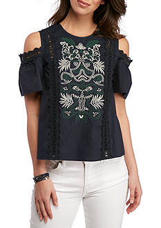 BLU PEPPER Embroidered Cold Shoulder Top