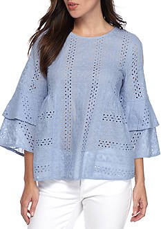 BLU PEPPER Long Sleeve Cold Shoulder Tier Sleeve Eyelet Top