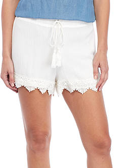 BLU PEPPER Tie Waist Lace Hem Soft Shorts