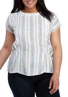 BLU PEPPER Plus Size Flutter Sleeve Crochet Trim Top