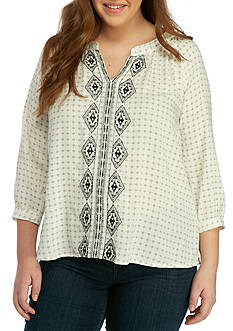 BLU PEPPER Plus Size Embroidered Split Neck Blouse