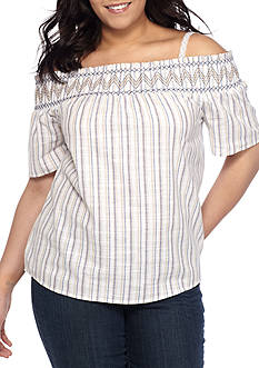 BLU PEPPER Plus Size Striped Off-The-Shoulder Top