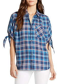 WILLIAM RAST™ Clapton Cold Shoulder Plaid Top