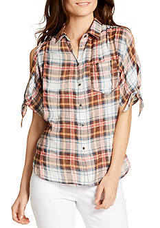 WILLIAM RAST™ Clapton Cold-Shoulder Plaid Top