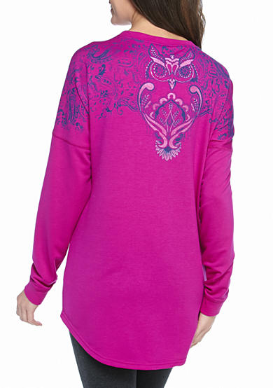 New Directions® Weekend Relaxed Paisley Owl Sweeper Tee