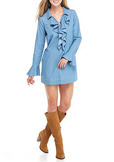 Red Camel Long Sleeve Ruffle Chambray Dress