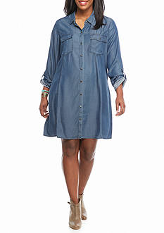 Red Camel® Plus Size Chambray Swing Dress