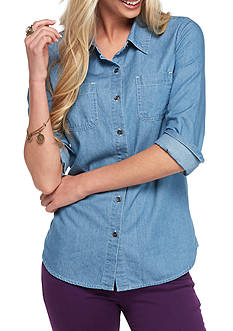 Red Camel Chambray Button Down Basic Shirt