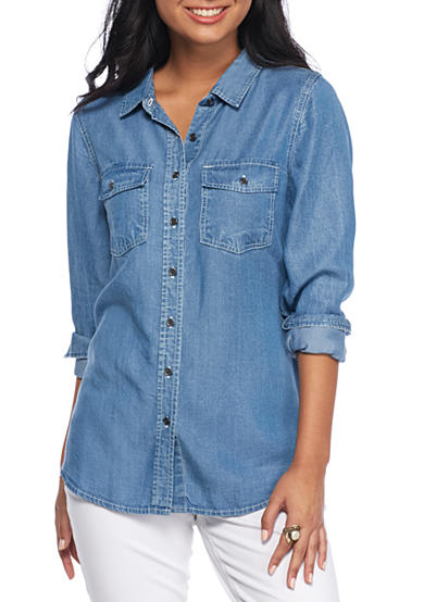 Red Camel® Chambray Button Down Basic Shirt