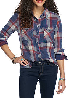 Red Camel Double Plaid Button Down Shirt