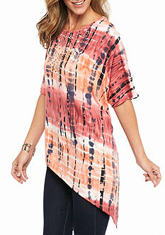 New Directions Weekend Studded Tie Dye Pointed Hem Top