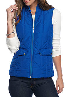 New Directions Weekend Chevron Stitch Puffer Vest