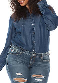 SLINK JEANS Plus Size Long Sleeve Woven Shirt