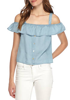 Red Camel Light Wash Ruffle Front Off-the-Shoulder Top