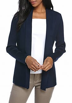 Kim Rogers Solid Ribbed Detail Cardigan
