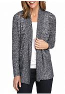 Kim Rogers® Space-dye Ribbed Detail Cardigan