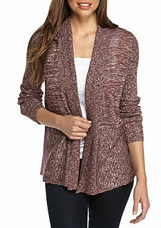 Kim Rogers Space-dye Ribbed Detail Cardigan