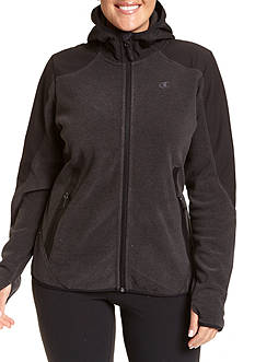 Champion Women's Plus textured fleece zip front hoody