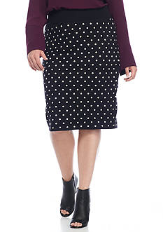 RACHEL Rachel Roy Plus Polka Dot Fitted Skirt