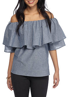 Basil & Lola Off The Shoulder Chambray Top