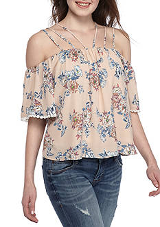 Basil & Lola Strappy Floral Off-The-Shoulder Blouse