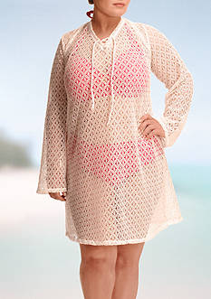 Paramour™ Plus Size Lace Up Tunic Cover-Up