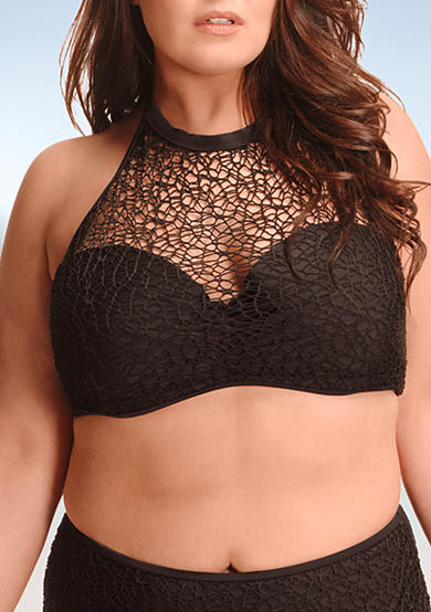 Paramour™ Plus Size Mesh High-Neck Swim Top
