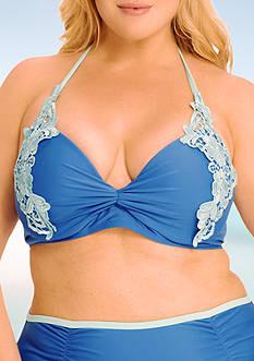 Paramour™ Plus Size Lace Trim Halter Swim Top