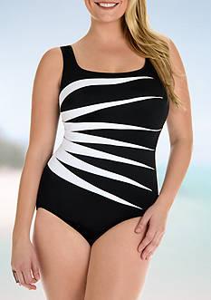 Longitude Colorblock Fan One Piece Swimsuit