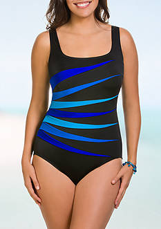 Longitude Colorblock Fan One Piece Swimsuit