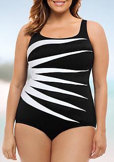 Longitude Plus Size Color Block One Piece Swimsuit