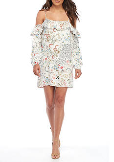 WAYF Dallas Cold Shoulder Ruffle Dress