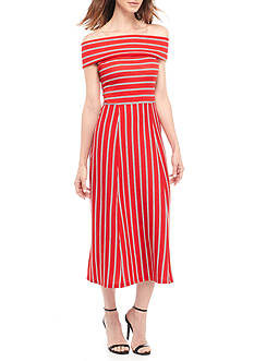 WAYF Rayan Stripe Off The Shoulder Dress