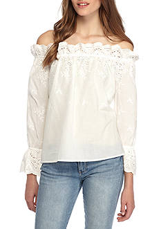 Penelope Project Eyelet Embroidery Off The Shoulder Top