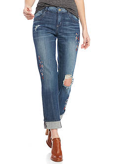 Democracy Geo Embroidered Girlfriend Jeans