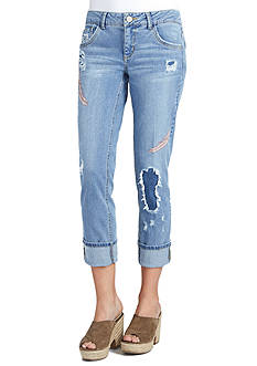 Democracy Feather Embroidered Jeans