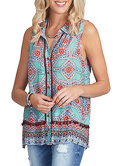 Democracy Sleeveless Button Down Tank