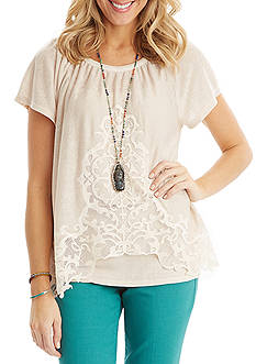 Democracy Embroidered Short Sleeve Top
