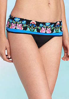 Nanette Lepore Damask Floral Fold Over Hipster Swim Bottoms