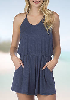 Lucky Brand Solid Romper Swim Cover Up
