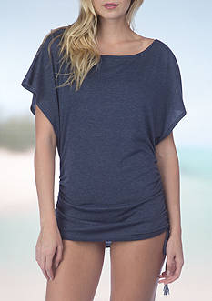 Lucky Brand Side Shirred Tunic Swim Cover Up