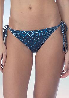 Lucky Brand Shibori Patchwork Side Tie Hipster Swim Bottom