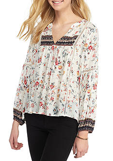 Blue Tassel Rose Print Peasant Top