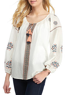 Blue Tassel Embroidered Peasant Top