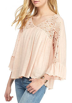 Blue Tassel Lace Inset Top