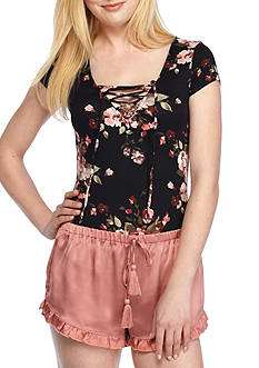 Polly & Esther Floral Lace Up Bodysuit