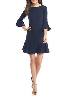 Sail to Sable 3/4 Sleeve Flounce Dress